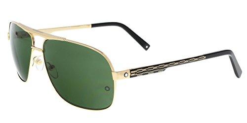 Mont Blanc Men's Designer Sunglasses, Shiny Rose Gold/Green, 63-14-140