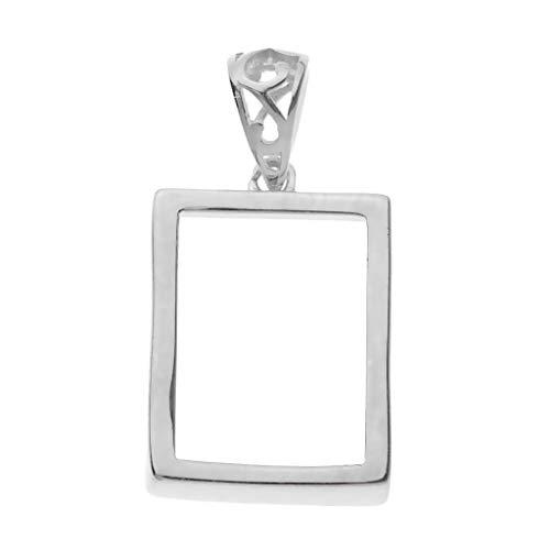 (Baoblaze 925 Sterling Silver Geometric Hollow Rectangle Frame Pendant DIY Crafts for Resin Earrings Necklace Bracelet)