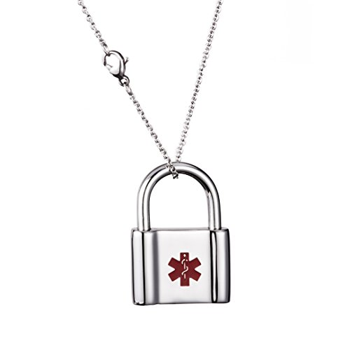 (linnalove Stainless Steel Lock id Charm Medical Necklace for Women and Men (Free Engraving))