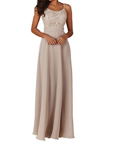 Royaldress Beige Spitze U-ausschnitt Brautmutterkleider Abendkleider Langes festlichkleider Brautjungfernkleider