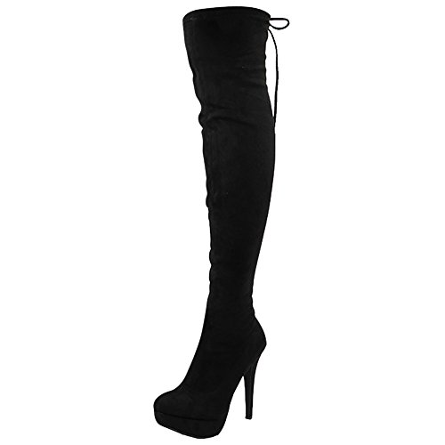Womens Ladies Stretchy Thigh High Over The Knee Long Lace up Heel Boots Shoes Size 3-8 Black Suede