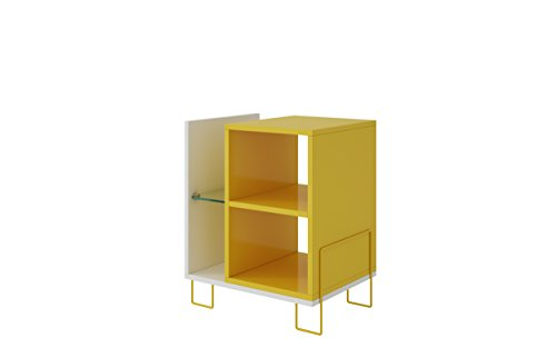 Manhattan Comfort Boden Collection Contemporary 2 Shelf Storage Mini Bookcase With 2 Side Shelves, Yellow/White ()