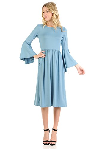 iconic luxe Women's Fit and Flare Dress with Dramatic Bell Sleeve Medium Dusty Blue