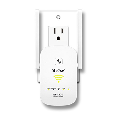 (2018 NEWEST) WiFi Range Extender, MECO AC1200 WiFi Repeater Dual Band Wireless Signal Booster Amplifier 2.4/5GHz Supports Router Mode/Repeater/Access Point, Easily Setup and Seamless Roaming
