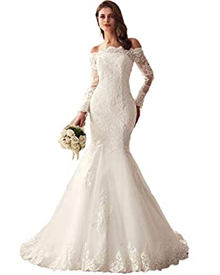 LUBridal 2019 Lace Mermaid Wedding Dresses Applique Beaded Long Sleeve Bridal Gowns Formal
