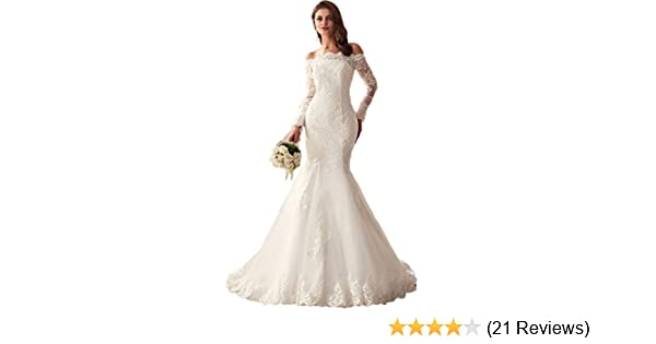 Formal Wedding Dresses.Lubridal 2019 Lace Mermaid Wedding Dresses Applique Beaded Long Sleeve Bridal Gowns Formal