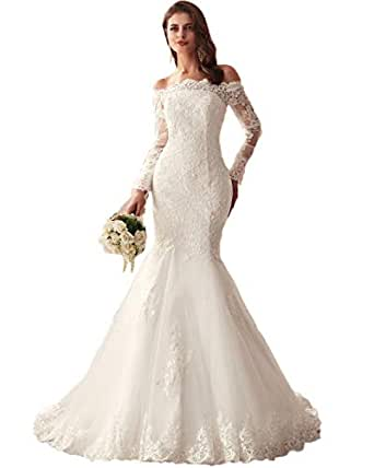 Wedding Gowns With Sleeves.Lubridal 2019 Lace Mermaid Wedding Dresses Applique Beaded Long Sleeve Bridal Gowns Formal