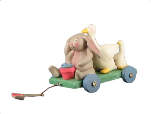 Springhaven Lake Figurine Bunny and Duck Wagon by Russ - Bunny and Rabbit for Easter and Springtime Decorations ()