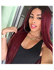 Beauty : Long Wigs for Women with Side Bangs Dark Roots Ombre Wine Red Natural Style Wig Long Straight Heat Resistant Cosplay Hair 28inch