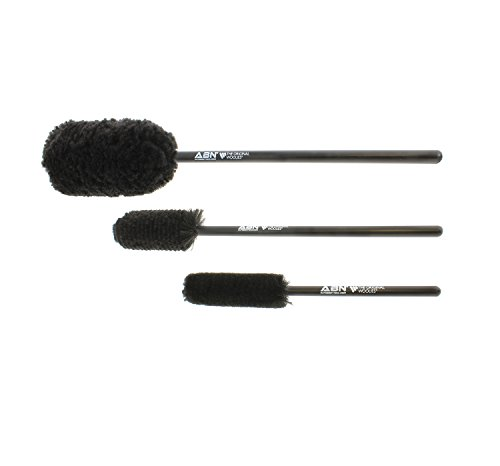 - ABN Car Wheel Rim Cleaning 3-Piece Kit – Wheel Woolies Brush Stick Tool – Tire Woolie – Wooly Wand Set (3 Brushes)