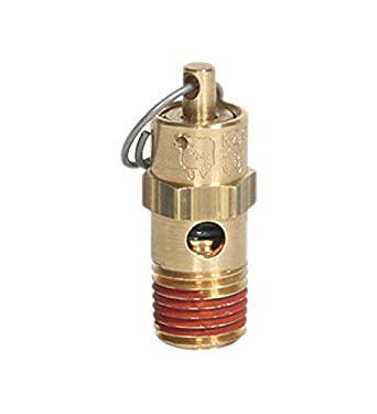 1//4 NPT 125 psi Midwest Control SP25-125 ASME Soft Seat Safety Valve 250 Degree F Max Temperature All Brass with Stainless Steel Spring
