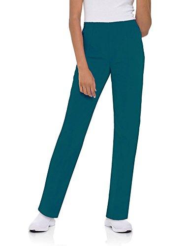 (Landau Women's Classic Fit Elastic Waist Scrub Pants Large Tall Caribbean Blue)