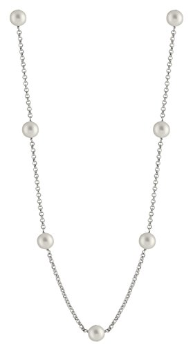 Tin Cup 7 Station Sterling Silver Chain 8.5-9mm Freshwater Cultured Pearl Matinee Necklace 20