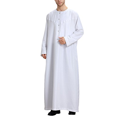 Zhuhaitf Mens Muslim Thobe Long Sleeve Crew Neck Arabic Arab Dress Saudi Style