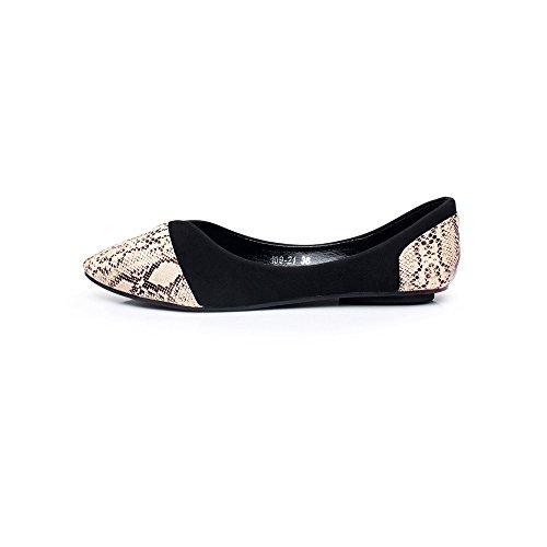OCHENTA Bailarinas Mujer Serpentina Zapatos Planos Casual Negro