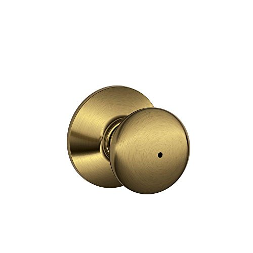 Schlage F40PLY 609 16-080 10-027 Plymouth Bed and Bath Knob, Antique Brass (Bed Plymouth)
