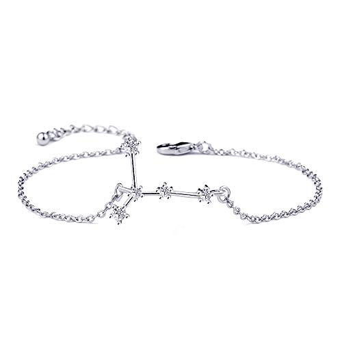(BOCHOI Constellations Silver Cancer Zodiac Sign Bracelet for Women Girls Bracelet Astrology Horoscope CZ Jewelry for Mother Daughter BFF Bridesmaid Birthday Gift Adjustable Chain 7+1