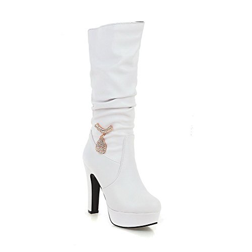 Allhqfashion Women's Solid PU High-Heels Pull-on Round Closed Toe Boots White 6QxfnU