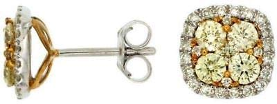 Milano Jewelers Wide 1.10CT Fancy White & Fancy Yellow Diamond 14KT 2 Tone Gold Earrings ()
