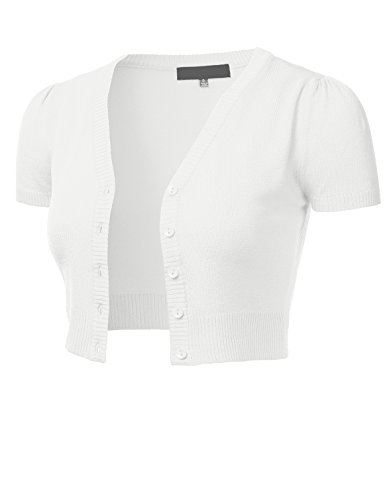 Cotton Nylon Cardigan - FLORIA Womens Button Down Short Sleeve Cropped Bolero Cardigan Sweater White 3X