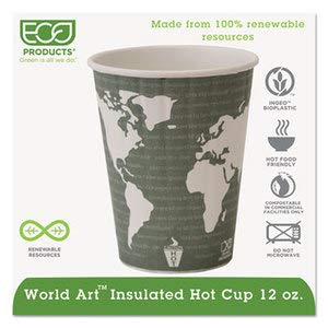 Eco-Products EPBNHC12WD World Art Renewable & Compostable Insulated Hot Cups 12oz, 40/PK, 15 PK/CT