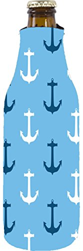Coolie Junction Anchor Nautical Pattern Beer Bottle Coolie