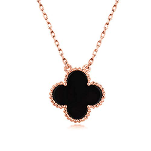 S925 Sterling Silver Women Fashion Black Onyx with Diamonds Four-leaf Clover Necklace/Classic Fashion Leaf Van Cleef Pearl Clover Necklace Malachite Pendant Clavicle Chain (Black-rose gold) ()