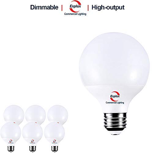 Explux Dimmable G25 Globe LED Bulbs, Hi-Output 800 lm, 3000K, 60W Vanity Light Bulb Replacement, 6-Pack