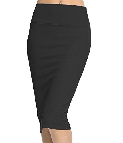 Soft Stretch Skirt - Urban CoCo Women's High Waist Stretch Bodycon Pencil Skirt (L, Black-Long)