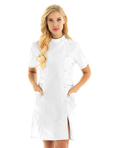 ACSUSS Womens Slanting Button Front Hospital Nurse Scrub Lab Coat Uniform Dress White Small]()