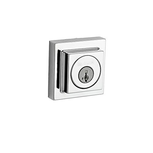 Kwikset 994 SQT 26 SMT RCAL RCS 994SQT-S Square Faced Contemporary Double Cylinder Deadbolt, Polished Chrome by Kwikset