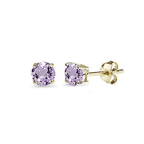 Sterling Silver Amethyst Round-Cut Solitaire Stud Earrings, All Sizes
