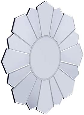 CHIC MODE 32″x32″ Antiqued Sunburst Frameless Modern Silver Finish Wall Accent Mirror