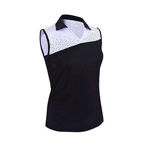 Monterey Club Ladies Dry Swing Crystal Detail Colorblock Sleeveless Polo Shirt #2093 (Black/White, - Colorblock Sleeveless