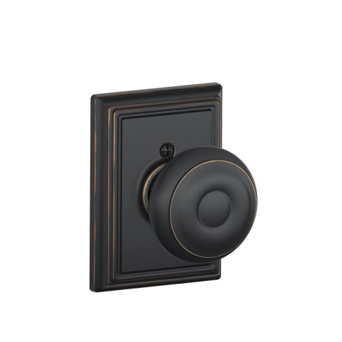 Decorative Trim Door Knob - Georgian Knob with Addison Trim Non-Turning Lock, Aged Bronze (F170 GEO 716 ADD)