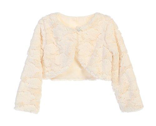 Faux Fur Long Sleeve Bolero Jacket Shrug - Ivory Cloud L 12-18 Months - Faux Fur Bolero Jackets