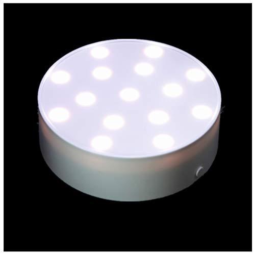 ARDUX LED Vase Light, Plate Lights Battery Powered Pedestal Vase Base Light for Home Wedding Birthday Party Decoration (4 inch Round - W)
