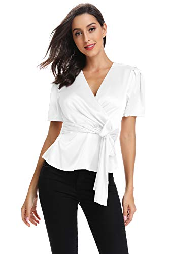 Elegant V Neck T-Shirt Women Summer Peplum Tops for Women Tunic Silk Tie Knot Loose Fit Blouse Short Sleeve Tops White