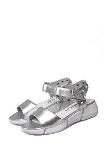 AgooLar Mujeres Mini Tacón Puntera Abierta Sólido Velcro Sandalia Plateado