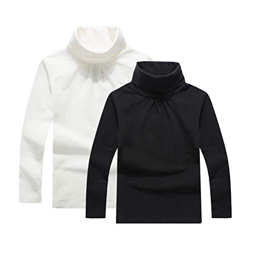 UNACOO Girls 2-Pack Solid Color Turtleneck Long-Sleeves Cotton Shirt (Black+Off-White, xs) ()