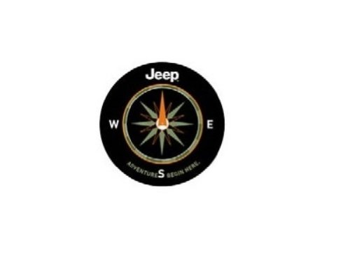 Liberty Denim Spare Tire Cover - Genuine Jeep Accessories 82210883AB Cloth Spare Tire Cover with Adventure Begins Here Logo
