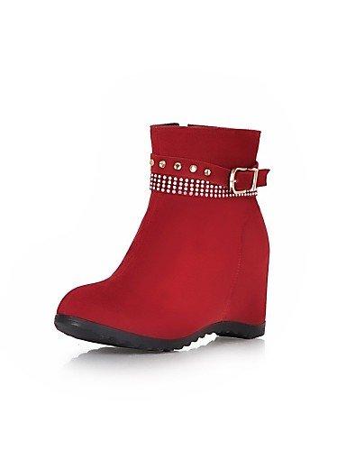 La Beige De Zapatos Cuñas Xzz Uk4 Uk7 Cn41 Red Redonda Eu36 negro Punta Vellón Amarillo Eu40 Rojo A Mujer Cuña us6 Vestido Casual Moda Cn36 Tacón Botas us9 qrfvWq1g