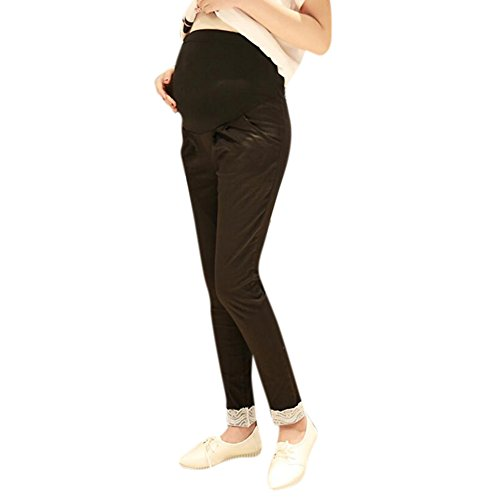 Highdas confortables embarazadas Prop Pantalones de maternidad del vientre pantalones de cintura alta ajustable Negro