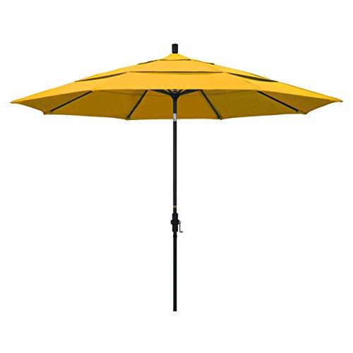 California Umbrella 11' Round Aluminum Market Umbrella, Crank Lift, Collar Tilt, Black Pole, Pacifica Yellow