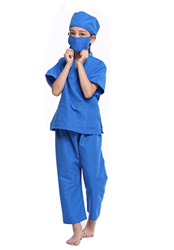 Custom Girl Halloween Costumes (CalorMixs America Kids Unisex Doctor Lab Coat & Childrens Doctor Scrub Set Role Play Costume Dress-Up For Christmas Halloween (7/10 (Kids Scrub), Ceil Blue))