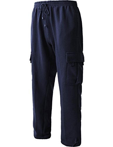 Men's Cargo Sweatpants Heavyweight Fleece Long Pants 60/40 S-5xl (2X-Large, 1RD0005 Navy)