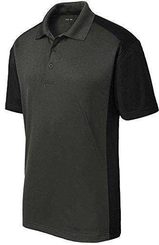 Joe's USA Mens Moisture Wicking Micropique Golf Polo Shirt-Black-XL