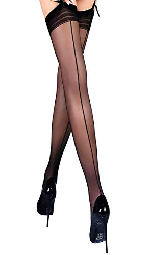 Thigh High Seamed Stockings for Garter Belt Patterned Top Back Seam S M L (M, Black 03)