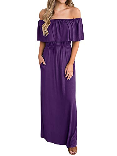 Womens Floral Off The Shoulder Dresses Summer Casual Ruffle High Waist Slit Long Maxi Dress with Pockets (Medium, Purple)