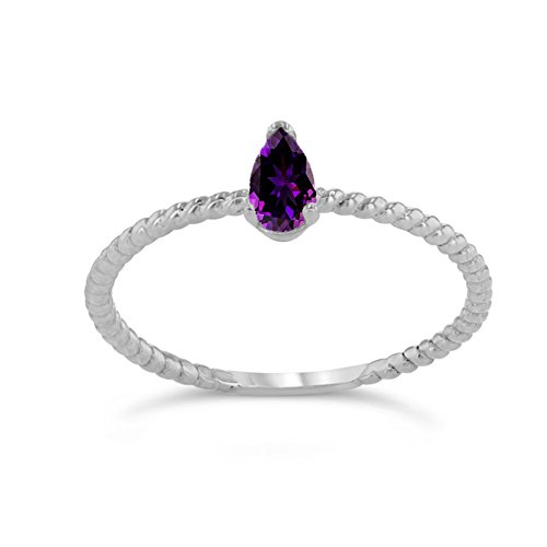 Dainty 10k White Gold Solitaire Amethyst Pear-Shaped Modern Engagement Rope Ring (Size 6)